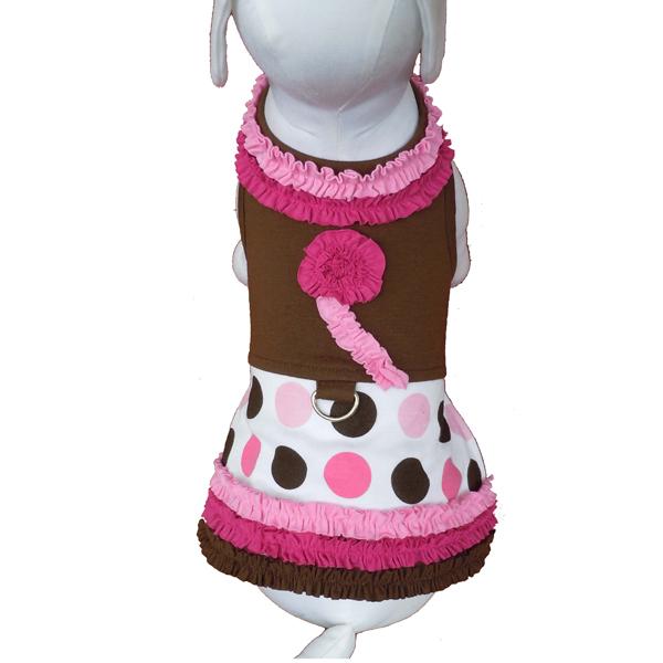 Ruffles and Polka Dot Dog Harness Dress w/Leash