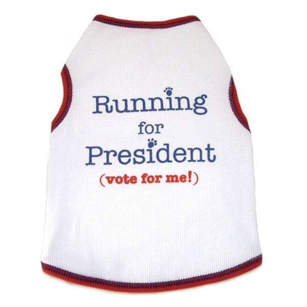 Running For President Dog Tank Top - White