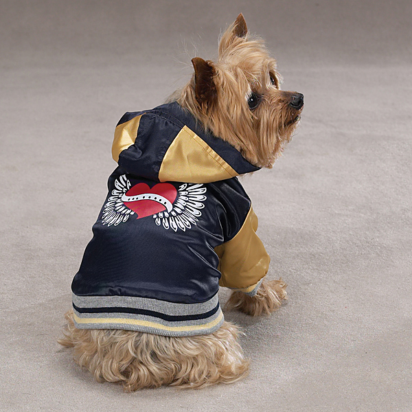 Satin Bomber Dog Jacket - Dark Blue
