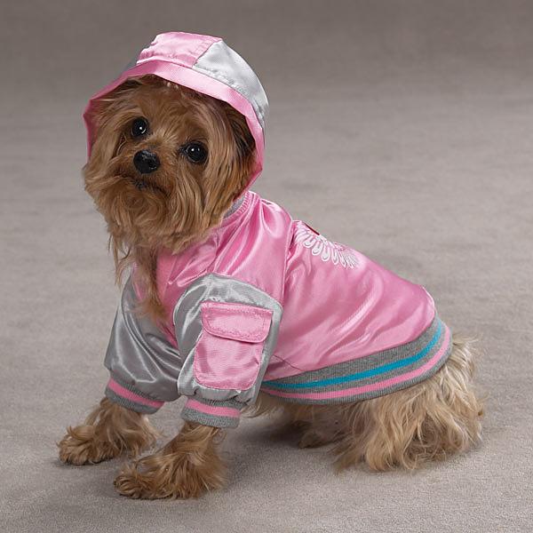 Satin Bomber Dog Jacket - Pink