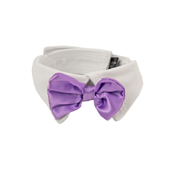 Satin Dog Bowtie Collar - Lavender