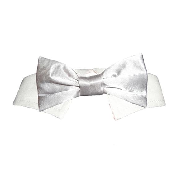 Satin Dog Bowtie Collar - Silver