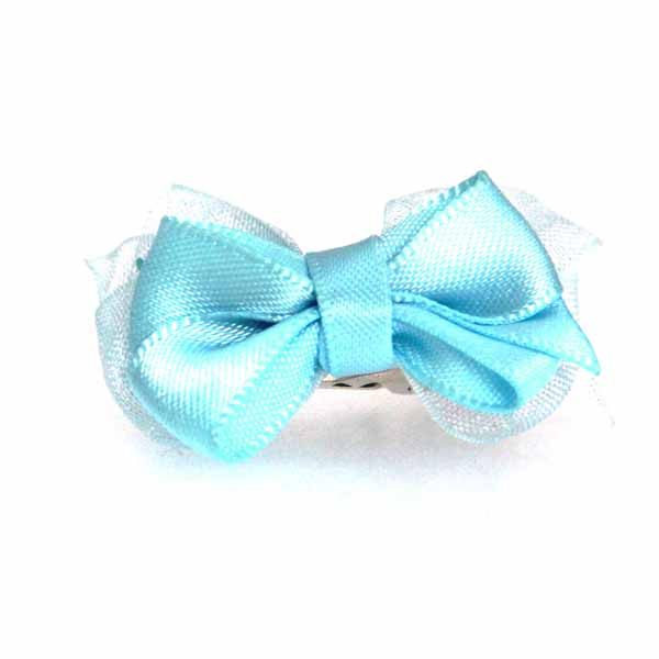 Satin Dog Hair Bow with Alligator Clips - Light Blue