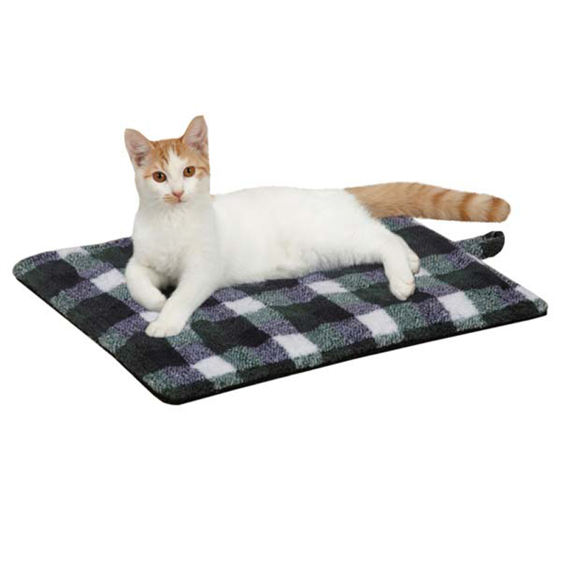 Savvy Tabby Country Plaid Thermal Cat Mat - Blue