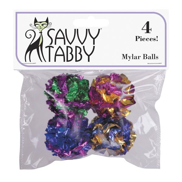 Savvy Tabby Mylar Ball Cat Toy - 4 Pack