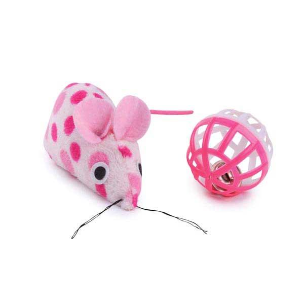 Savvy Tabby Polka Dot Mouse and Ball - Pink