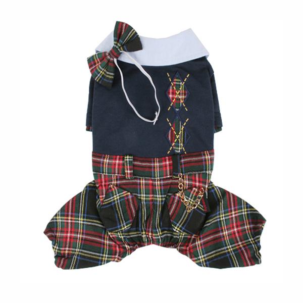 Scottie Plaid Jumpsuit by Puppia - Navy