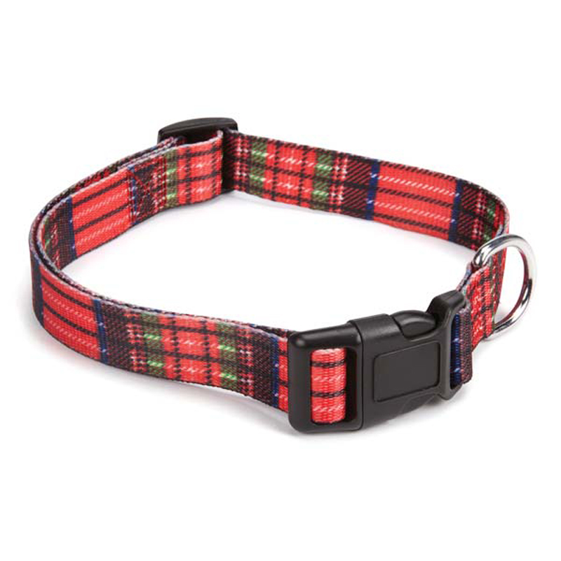Scotty Plaid Dog Collar - Red