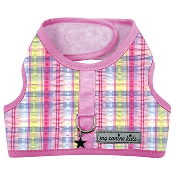Seersucker Dog Vest Harness - Pink