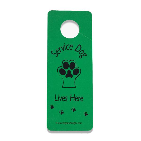 Service Dog Lives Here Door Hanger - Green