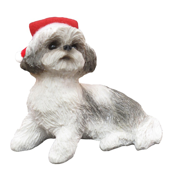 Shih Tzu Sitting Christmas Ornament - Gray