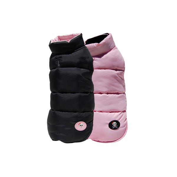 Pink & Black Skull Reversible Ski Dog Vest