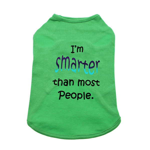 Smarter Than Most People Dog Tank - Green