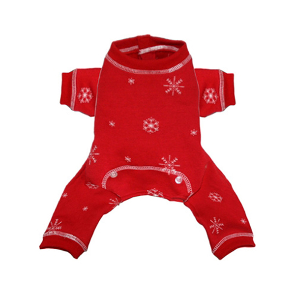 Snowflake Dog Long Johns Pajamas by Hip Doggie - Red