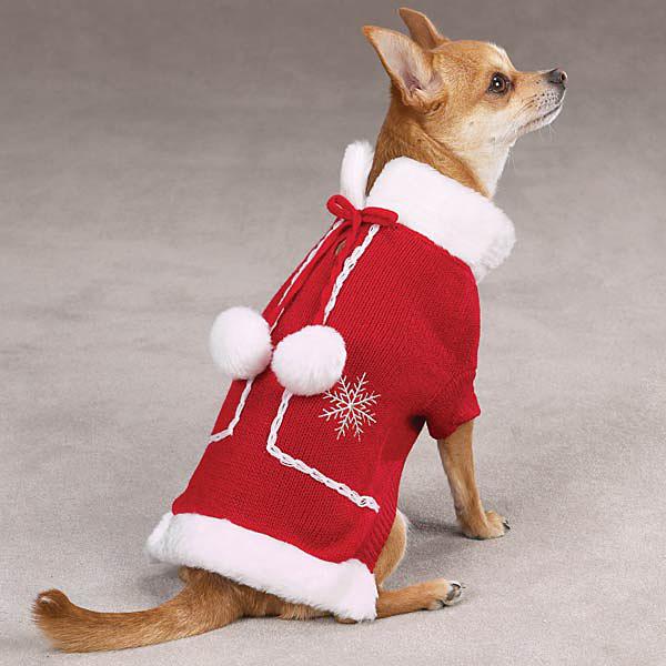 Snowflake Pom Pom Dog Sweater