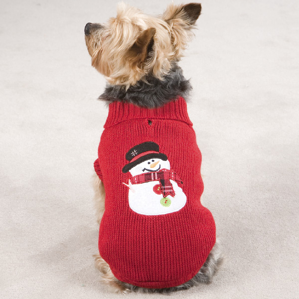 Snowman Dog Sweater - Red