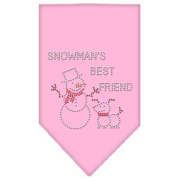 Snowman's Best Friend Rhinestone Dog Bandana - Light Pink