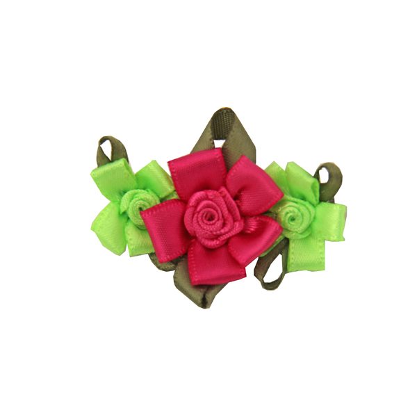 Solid Petal Flower Dog Barrette - Lime/Hot Pink