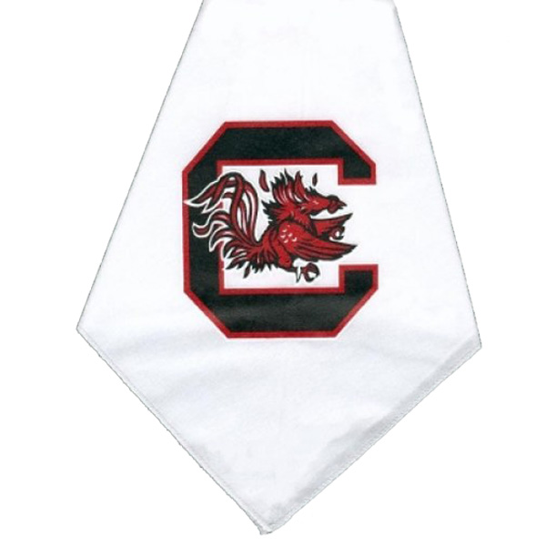 South Carolina Gamecocks Dog Bandana - White