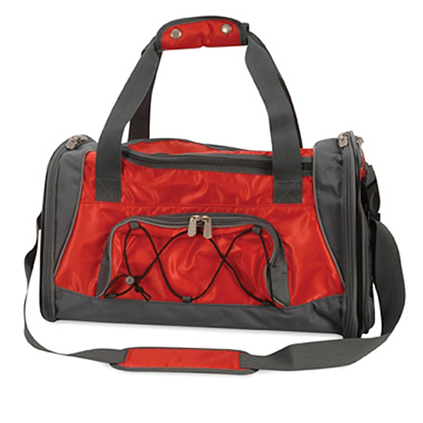 Sport Duffle Bag Dog Carrier - Red / Silver