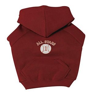 Sports Hooded Dog Sweatshirt -  Baseball