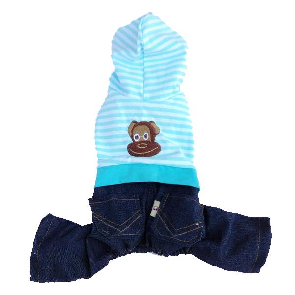 Striped Monkey Logo Dog Jumper - Blue