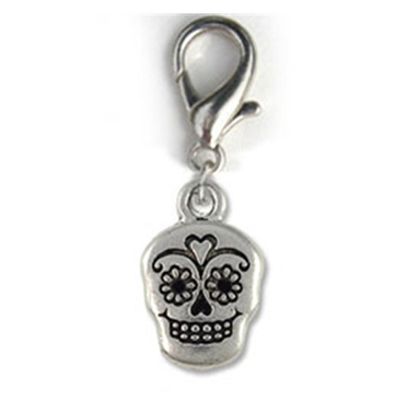 Sugar Skull Dog Collar Charm