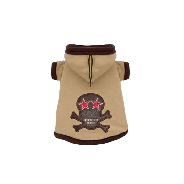 Super Soft Tan Skull Hoodie by Hip Doggie