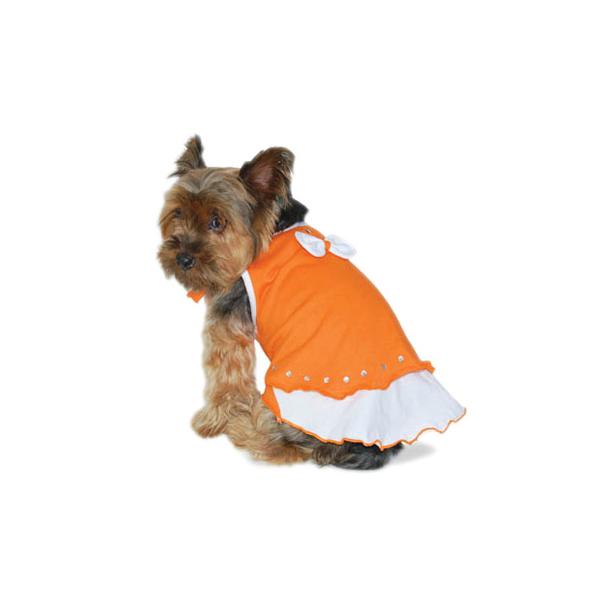 Sweet Bow Tiered Dog Dress by Dogo - Orange