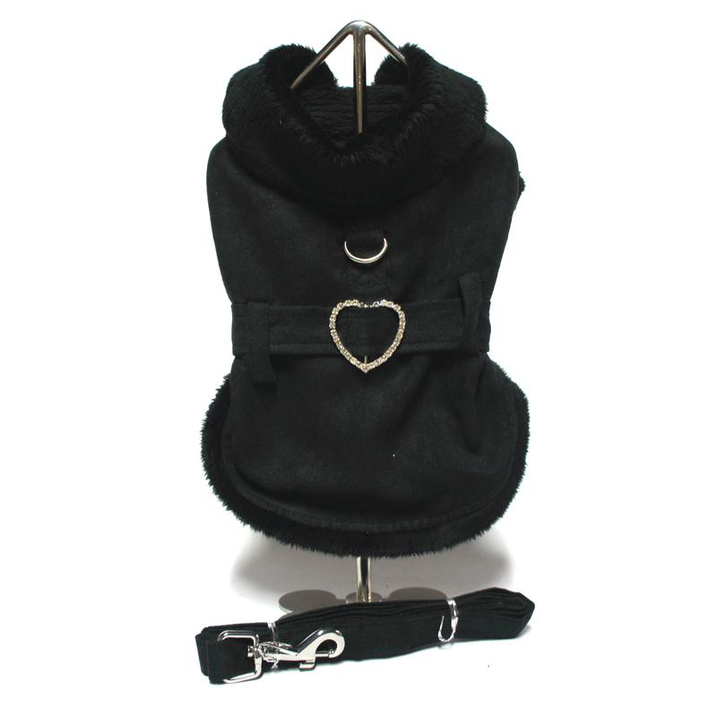 Sweetheart Suede Fur Lined Dog Coat