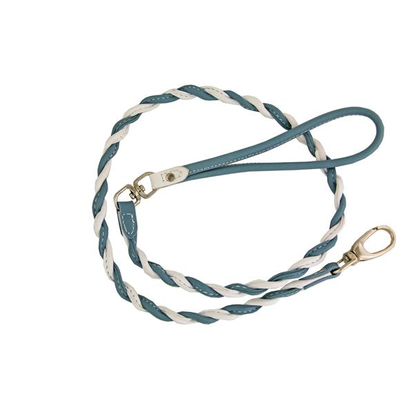 Twisted Tubular Italian Leather Dog Leash - White & Blue