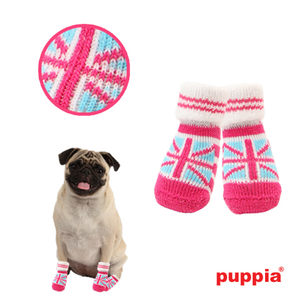 Union Jack Dog Socks by Puppia - Pink