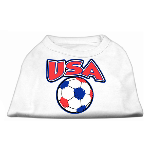USA Soccer Print Dog Shirt - White