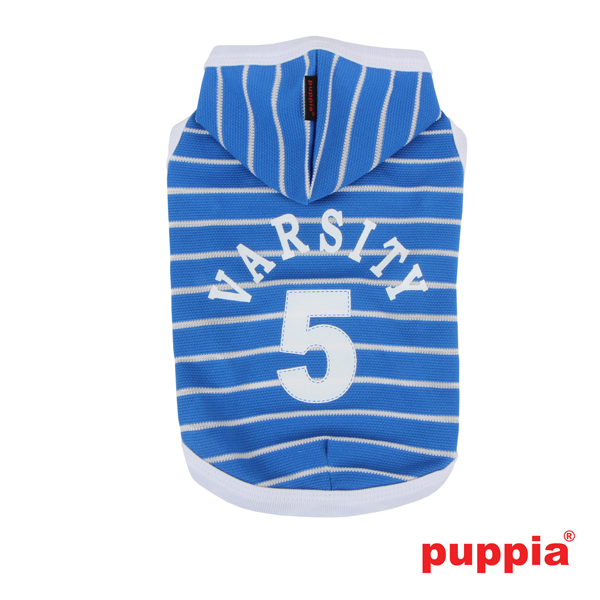 Varsity Hooded Dog T-Shirt by Puppia - Blue