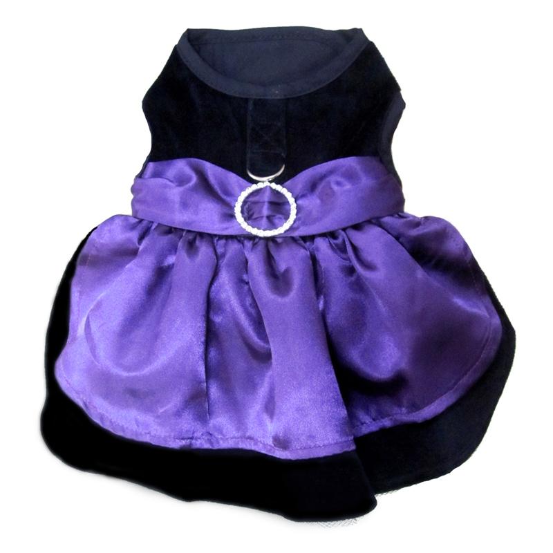 Velvet Holiday Harness Dog Dress Set
