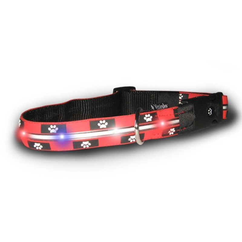 Visiglo Nylon Dog Collar with White LEDs - Red with Paw Prints