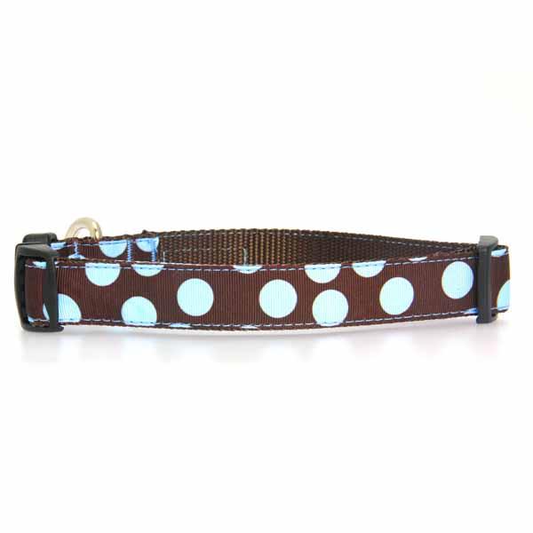 WaLk-e-Woo Blue Dot on Brown Dog Collar