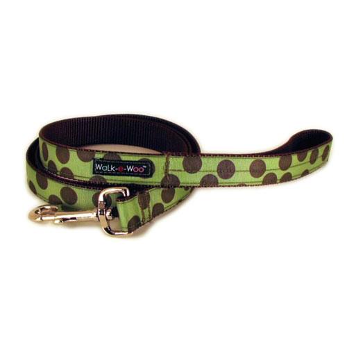 WaLk-e-Woo Brown Dot on Moss Green Dog Leash