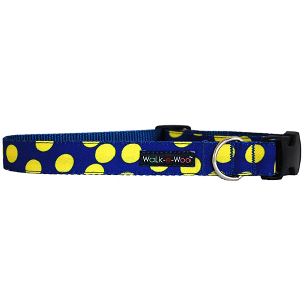 WaLk-e-Woo Neon Yellow Dot on Blue Dog Collar