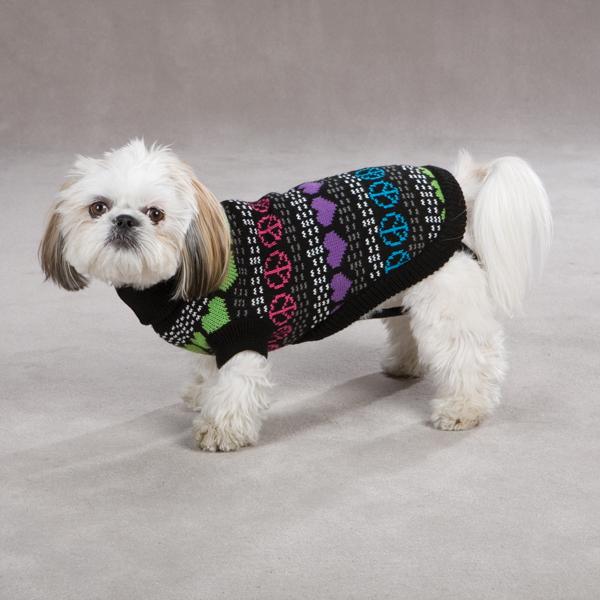 Warm Hearts Dog Sweater - Black