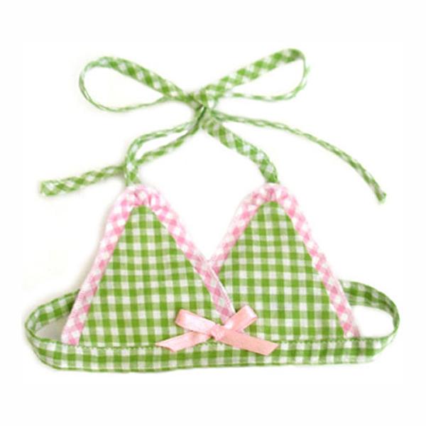 Watermelon Dog Bikini Top - Green & Pink