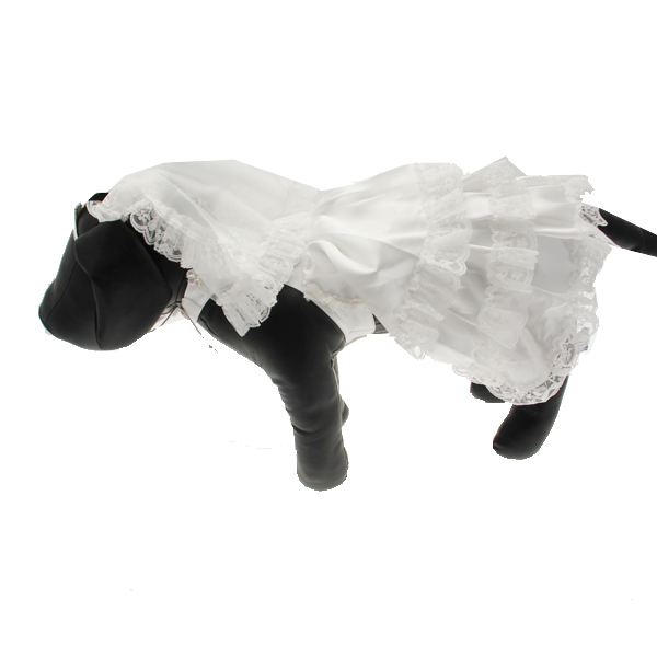 Wedding Dog Dress Costume with Veil
