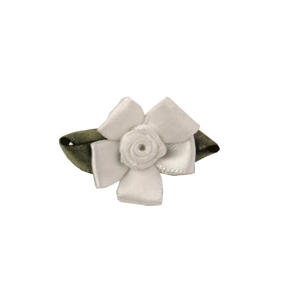 Wedding Petal Flowers Dog Hair Bow - White