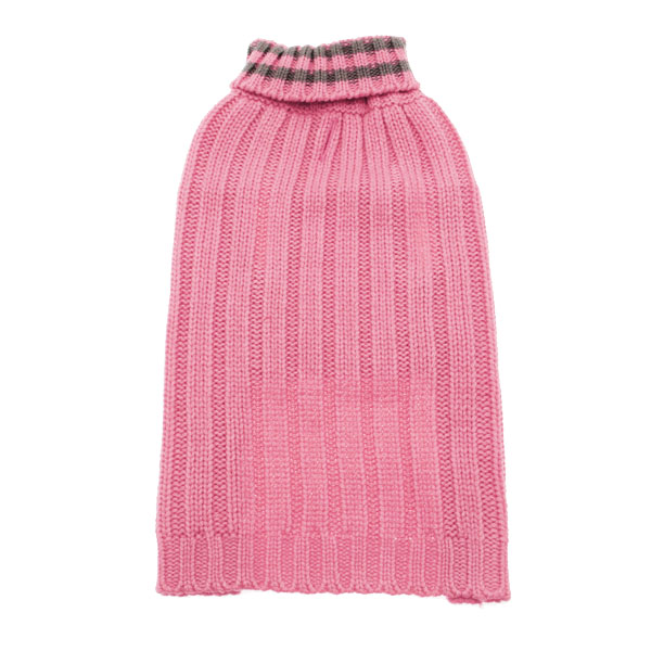 Worthy Dog Ribbed Turtleneck Dog Sweater - Pink