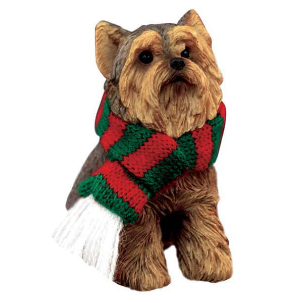 Yorkshire Terrier Christmas Ornament - Green and Red Scarf