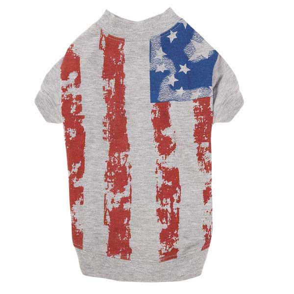 Zack & Zoey America's Pup Flag Print Dog T-Shirt