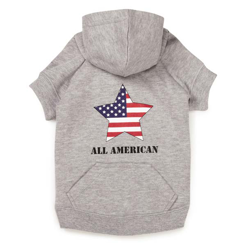 Zack and Zoey America's Pup Star Dog Hoodie - Gray