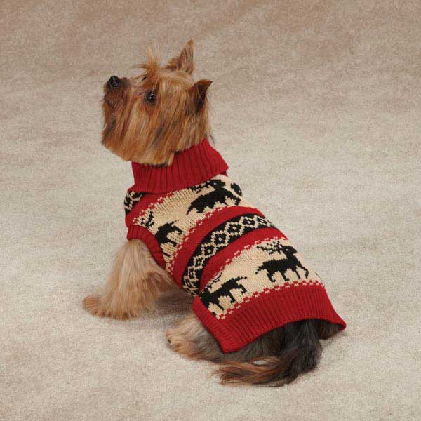 Zack & Zoey Arctic Reindeer Dog Sweater - Red