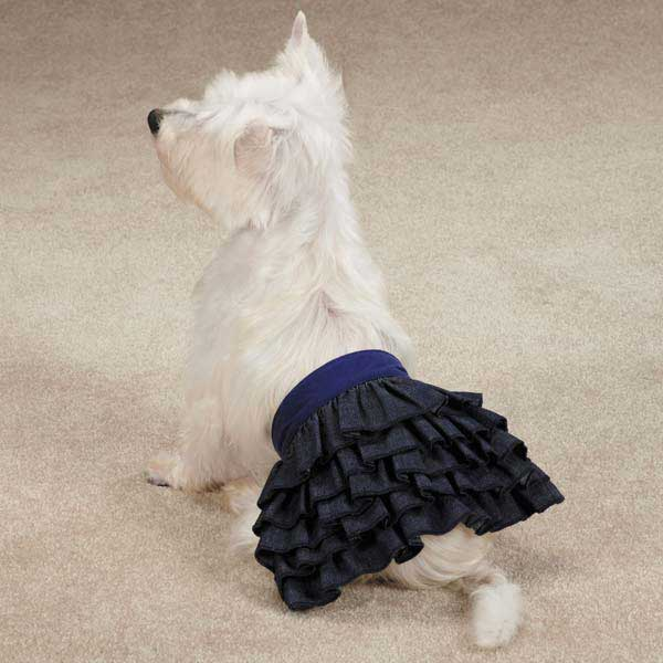 Zack & Zoey Denim Ruffle Dog Skirt - Blue