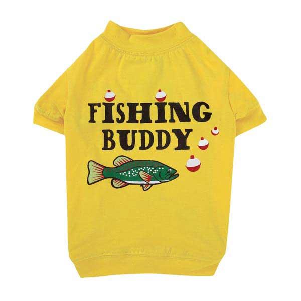 Zack & Zoey Fishing Buddy Dog T-Shirt - Yellow